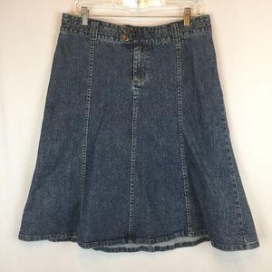 H&M Womens Jean Skirt Denim Casual Flare Size 12